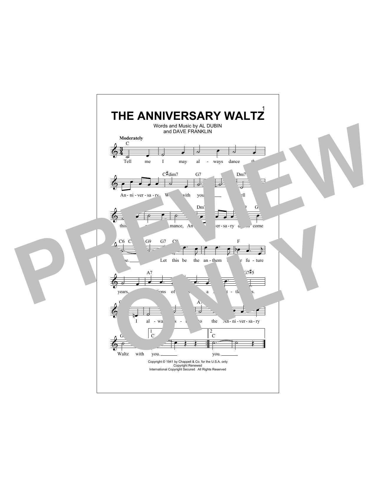The Anniversary Waltz Sheet Music