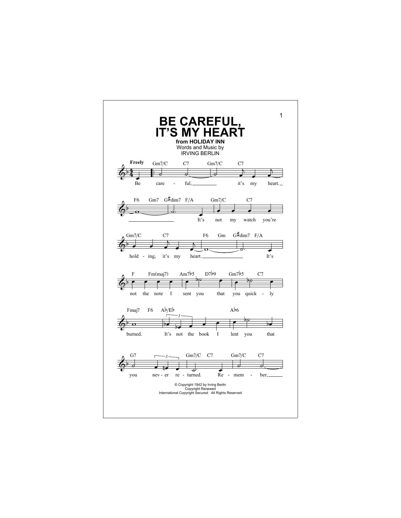 Be Careful, It's My Heart (Lead Sheet / Fake Book)