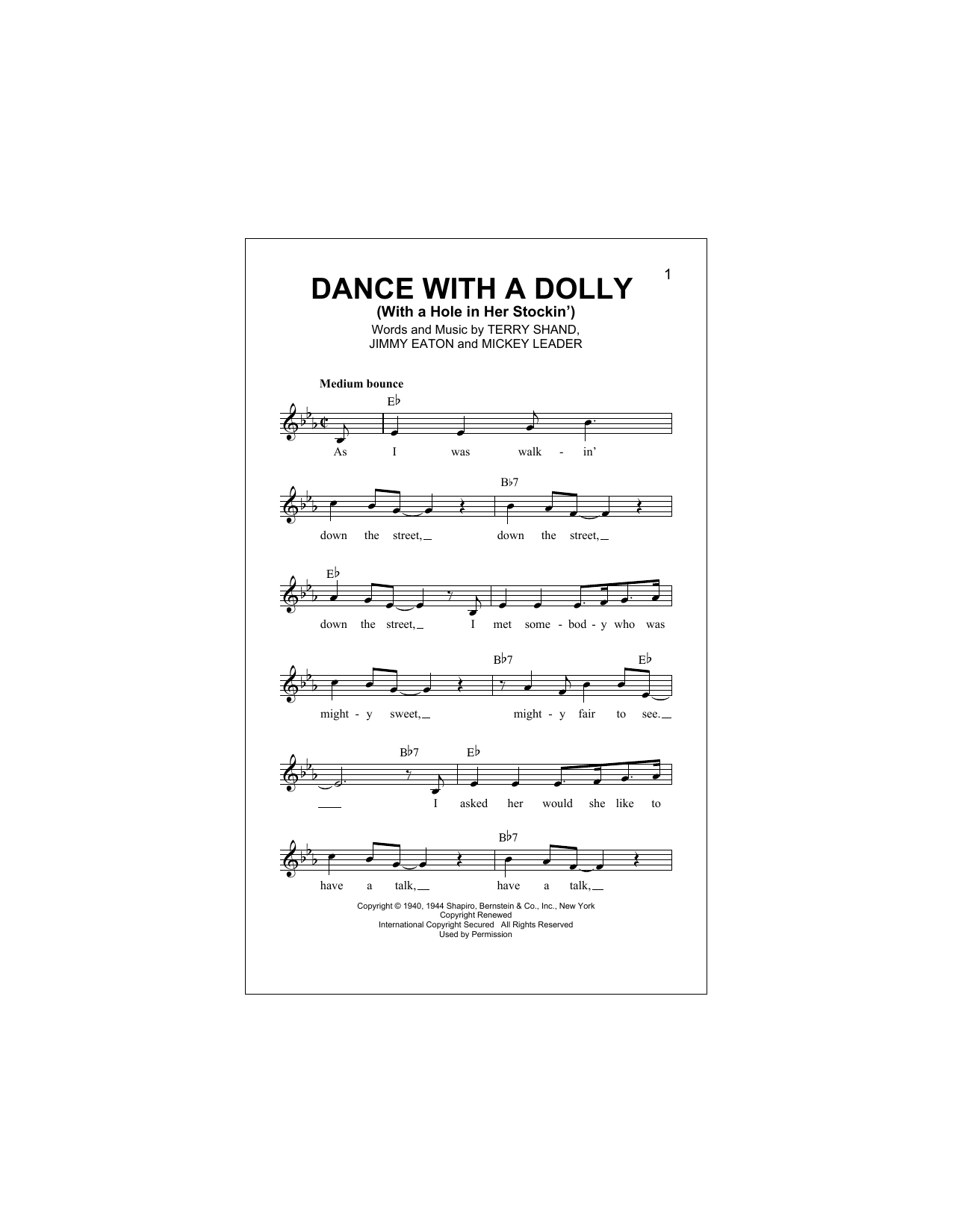 Dance With A Dolly (With A Hole In Her Stockin') (Lead Sheet / Fake Book)