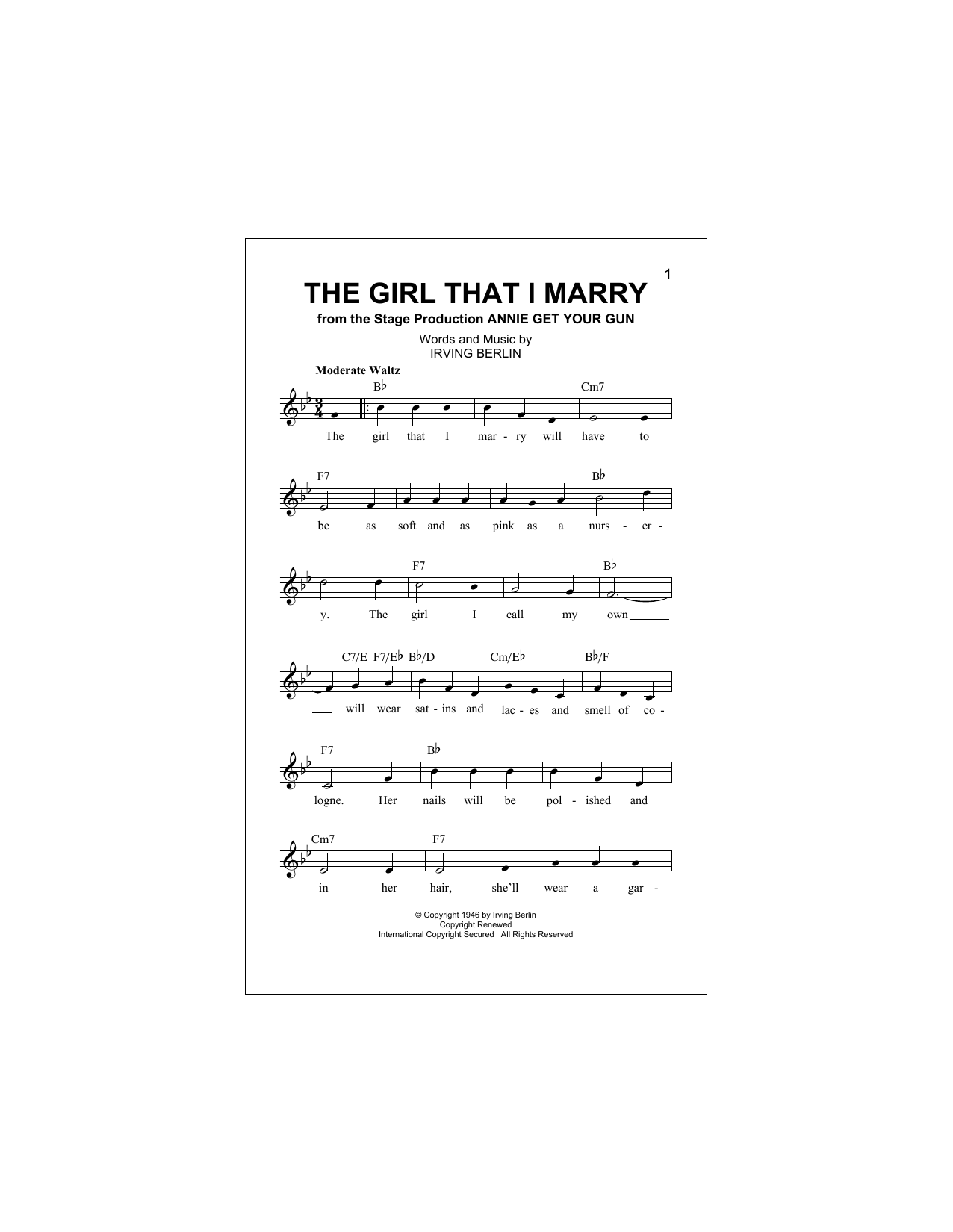 The Girl That I Marry Sheet Music