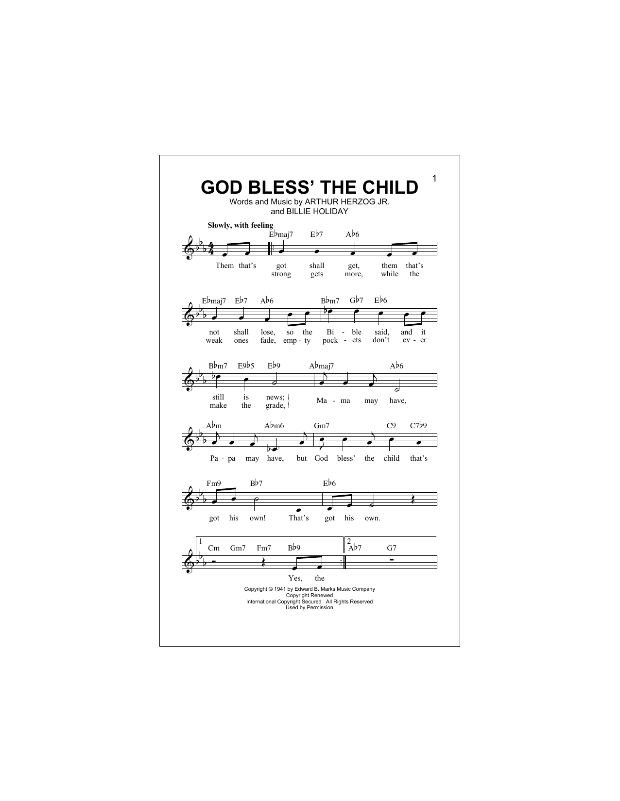 God Bless' The Child (Lead Sheet / Fake Book)