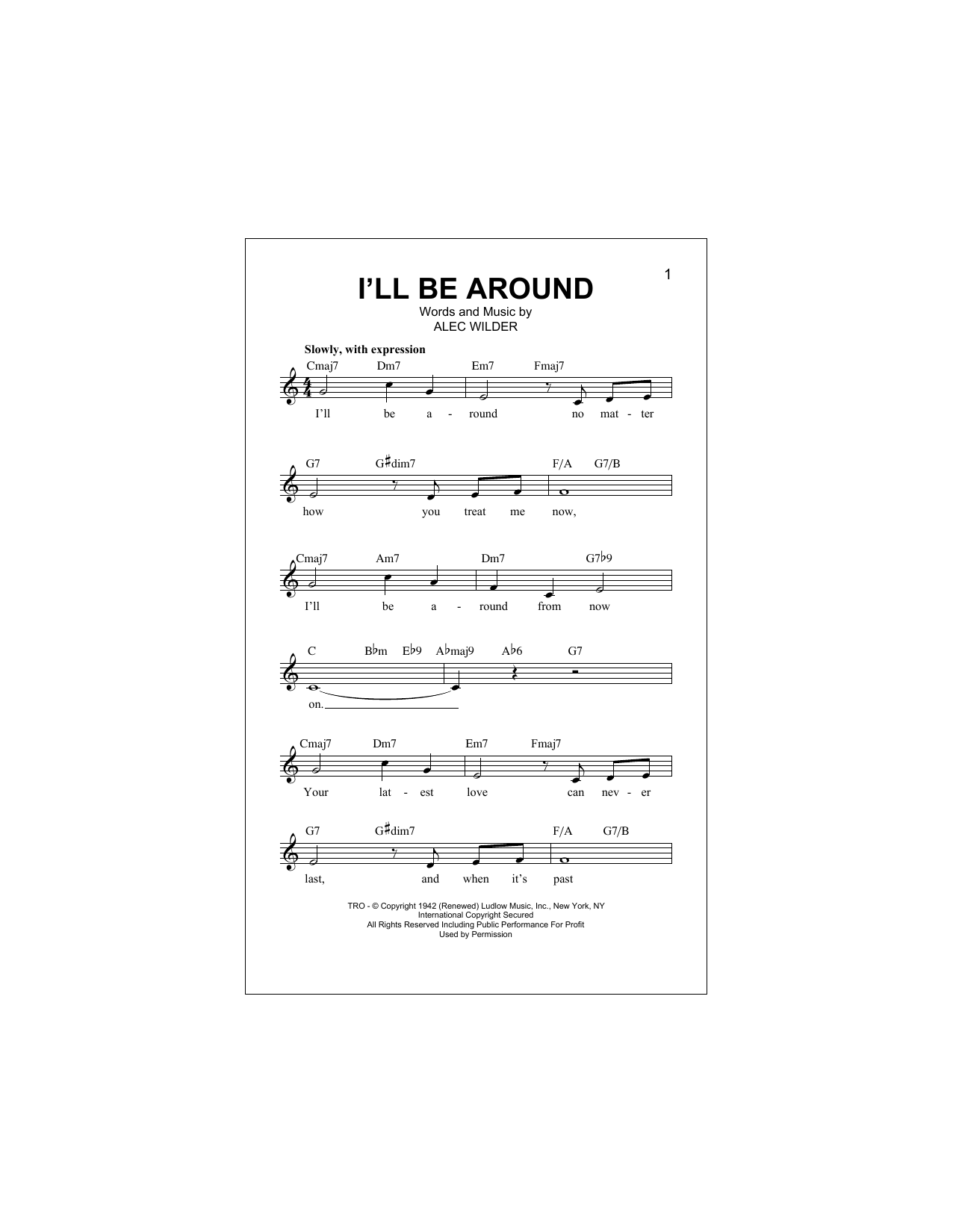 I'll Be Around Sheet Music
