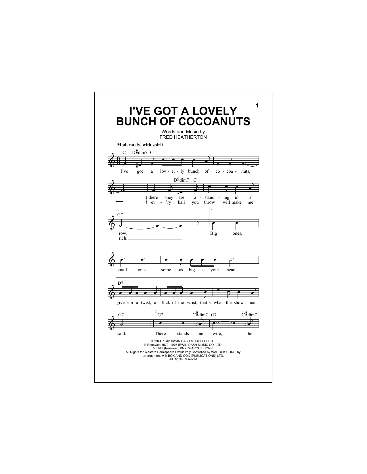 I've Got A Lovely Bunch Of Cocoanuts Sheet Music