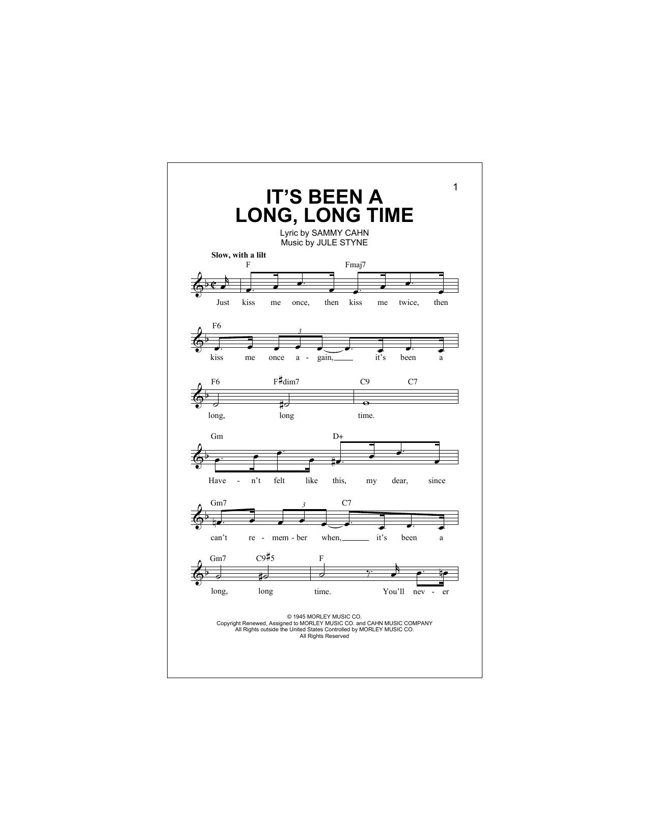 It's Been A Long, Long Time Sheet Music