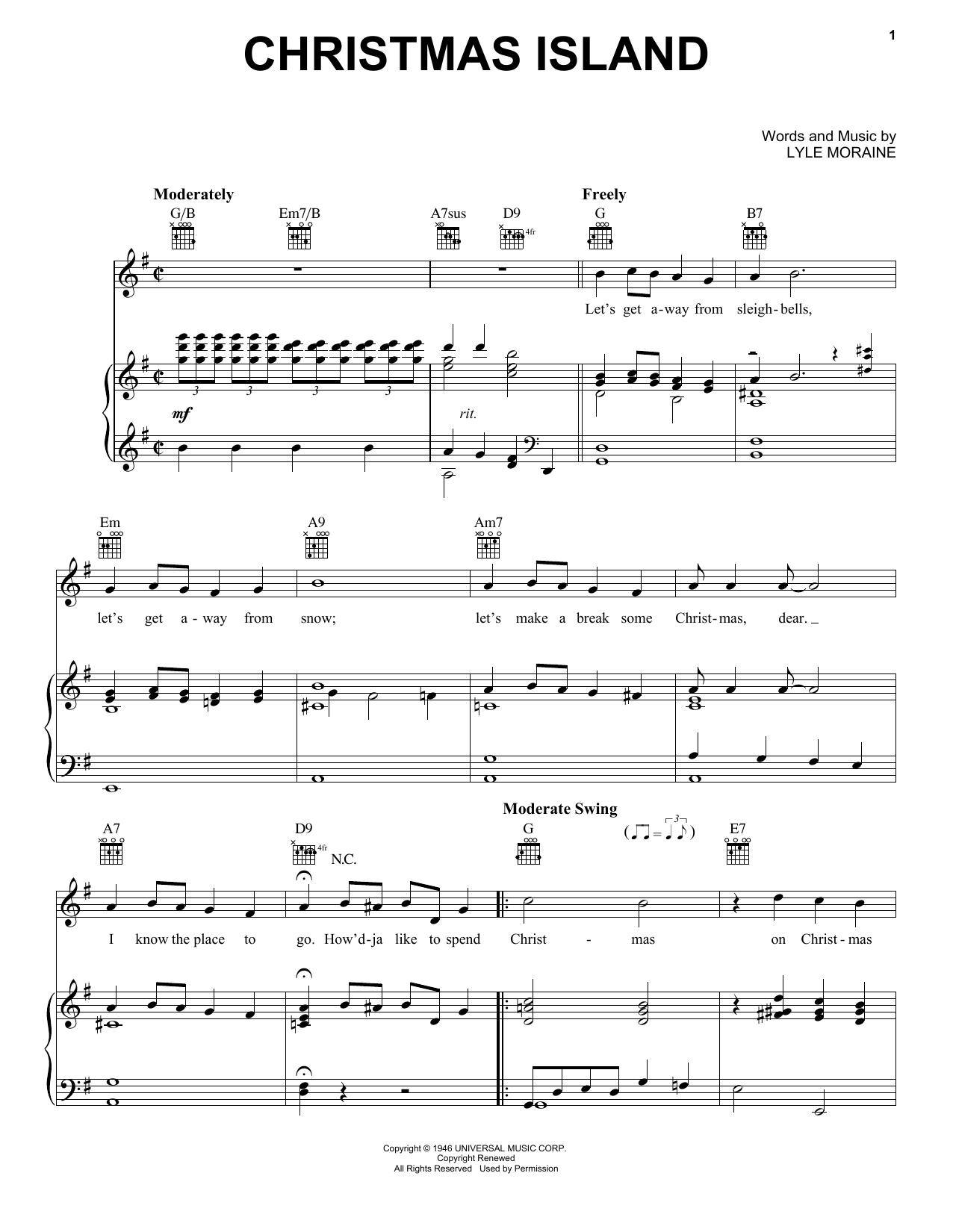 Partition piano Christmas Island de Lyle Moraine - Piano Voix Guitare (Mélodie Main Droite)