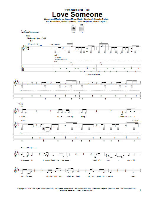 Tablature guitare Love Someone de Jason Mraz - Tablature Guitare