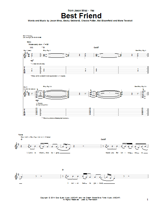 Tablature guitare Best Friend de Jason Mraz - Tablature Guitare