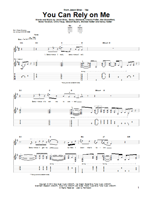 You Can Rely On Me Sheet Music
