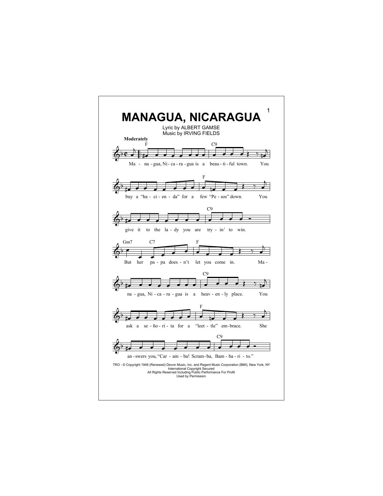 Managua, Nicaragua Sheet Music