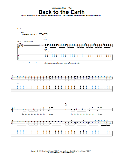 Tablature guitare Back To The Earth de Jason Mraz - Tablature Guitare