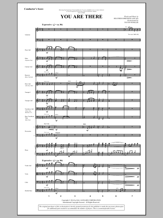 You Are There (COMPLETE) sheet music for orchestra/band by Heather Sorenson. Score Image Preview.
