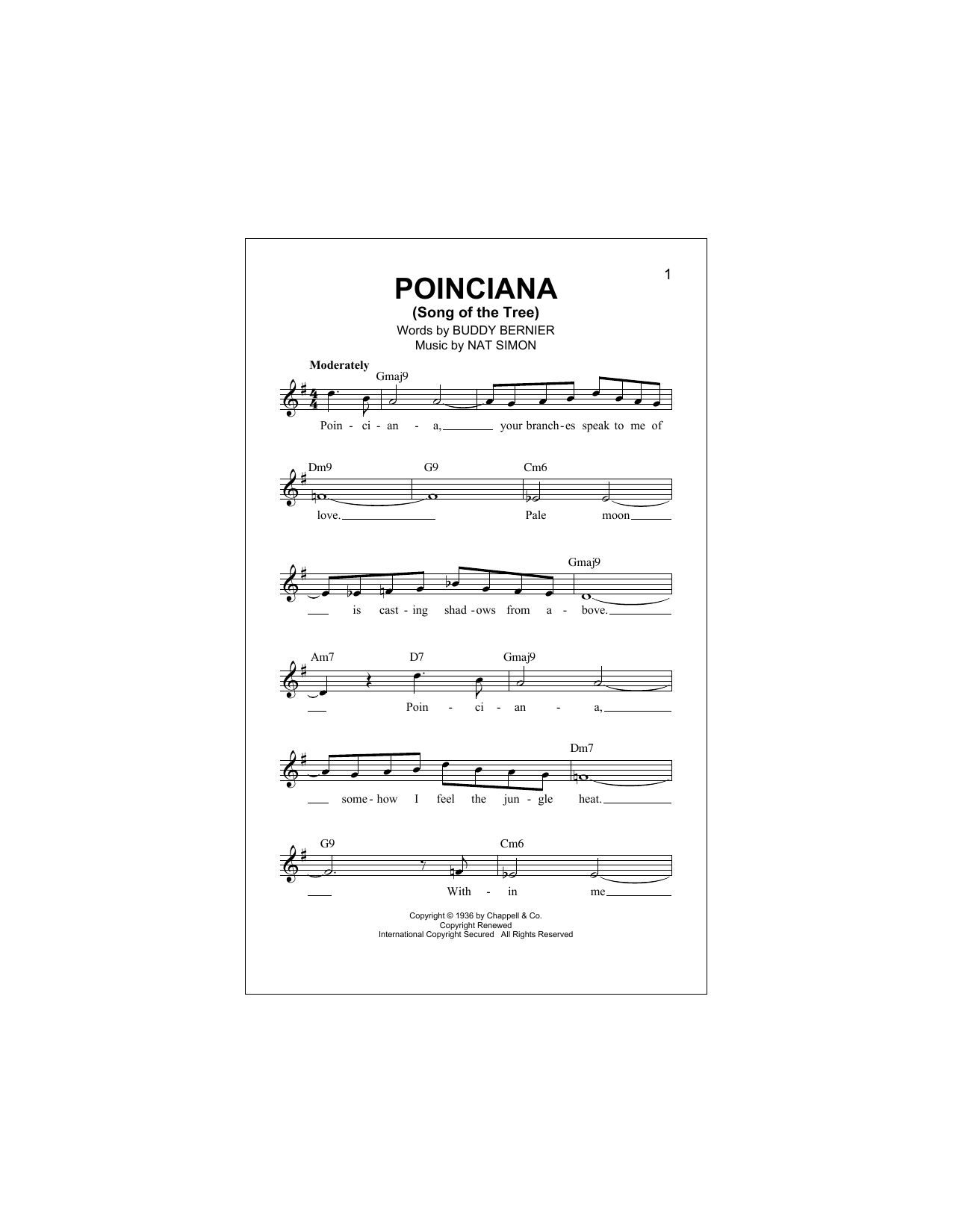 Poinciana (Song Of The Tree) (Lead Sheet / Fake Book)