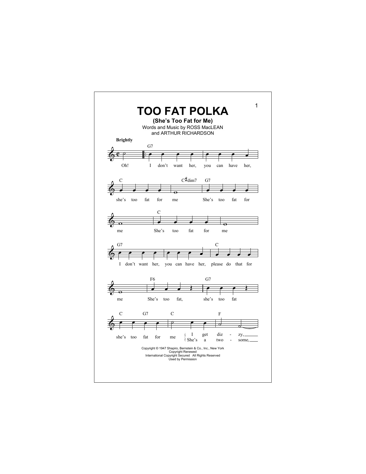 Too Fat Polka (She's Too Fat For Me) Sheet Music