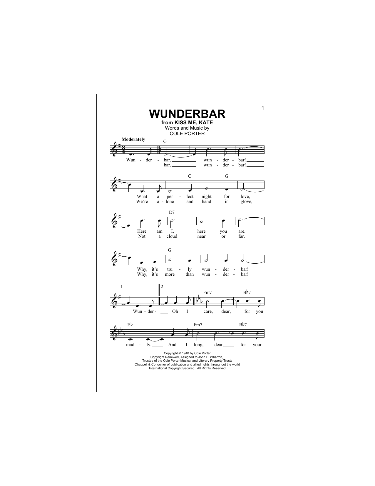 Wunderbar (Lead Sheet / Fake Book)