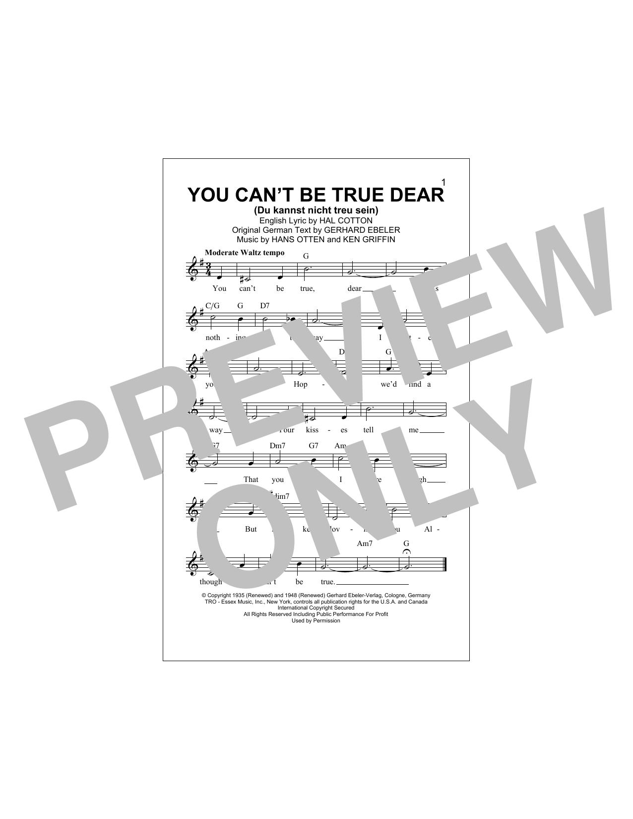 You Can't Be True Dear (Du Kannst Nicht Treu Sein) Sheet Music
