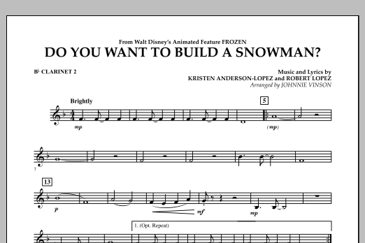 Do You Want to Build a Snowman? (from Frozen) - Bb Clarinet 2 (Concert Band)