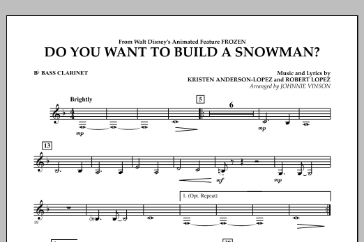 Do You Want to Build a Snowman? (from Frozen) - Bb Bass Clarinet (Concert Band)