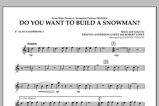 Do You Want to Build a Snowman? (from Frozen) - Eb Alto Saxophone 1 (Concert Band)