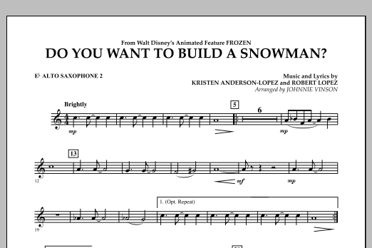 Do You Want to Build a Snowman? (from Frozen) - Eb Alto Saxophone 2 (Concert Band)