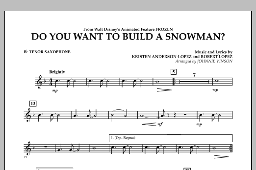 Do You Want to Build a Snowman? (from Frozen) - Bb Tenor Saxophone (Concert Band)