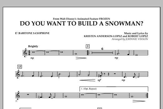 Do You Want to Build a Snowman? (from Frozen) - Eb Baritone Saxophone (Concert Band)