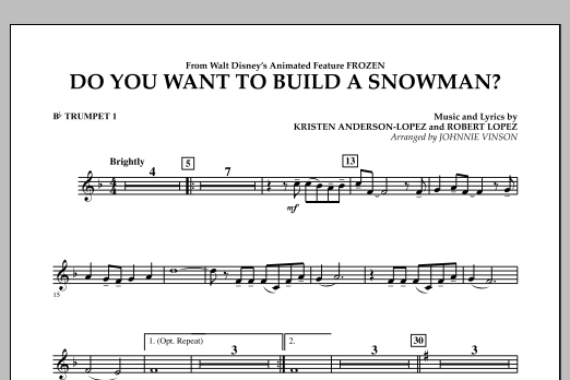 Do You Want to Build a Snowman? (from Frozen) - Bb Trumpet 1 (Concert Band)