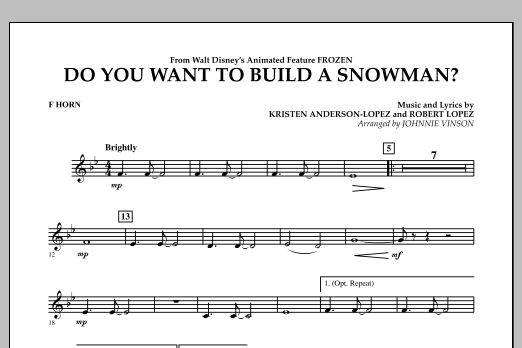 Do You Want to Build a Snowman? (from Frozen) - F Horn (Concert Band)