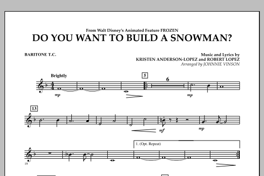Do You Want to Build a Snowman? (from Frozen) - Baritone T.C. (Concert Band)
