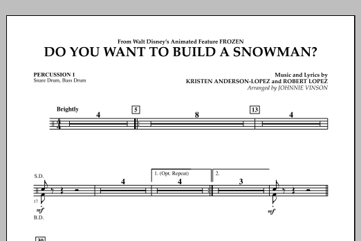 Do You Want to Build a Snowman? (from Frozen) - Percussion 1 (Concert Band)