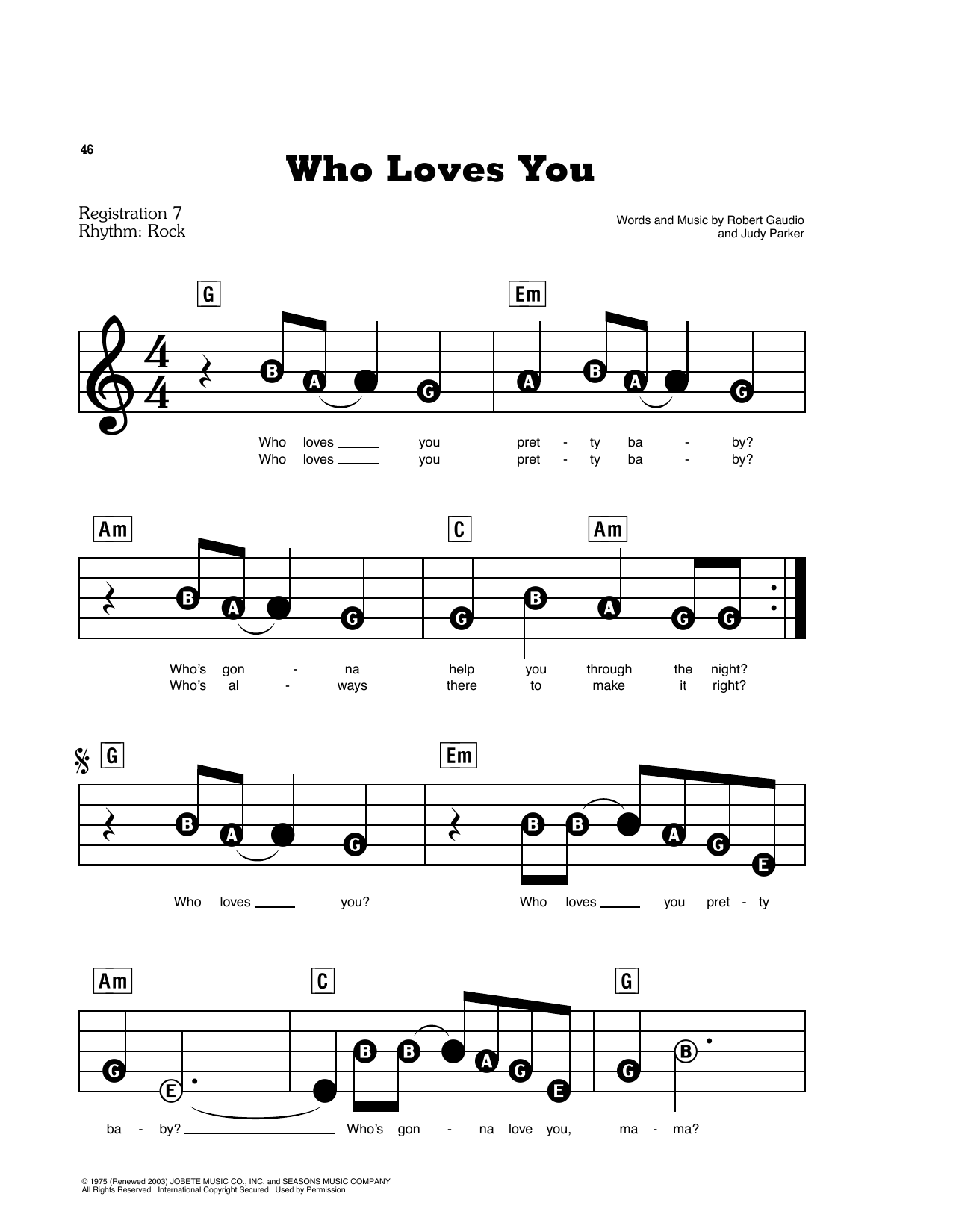 Who Loves You (E-Z Play Today)
