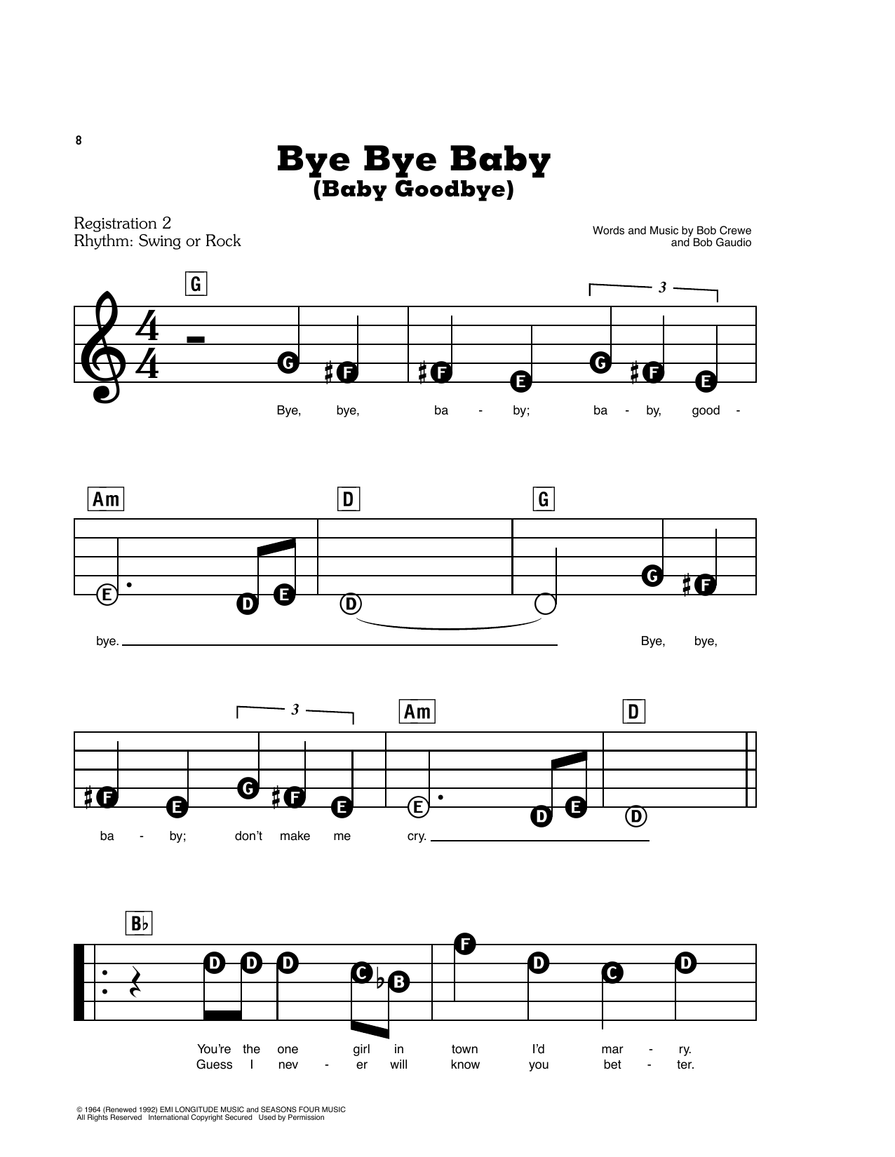 Bye Bye Baby (Baby Goodbye) (E-Z Play Today)