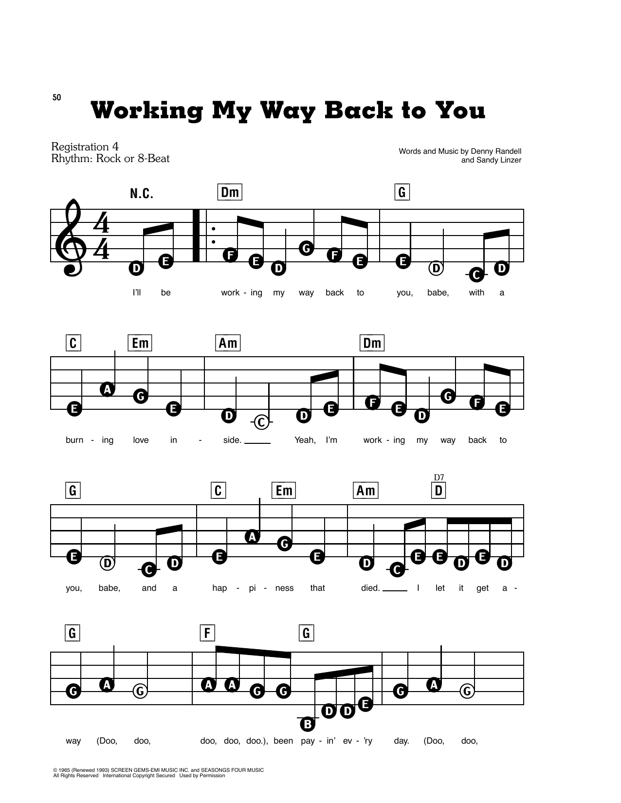 Working My Way Back To You (E-Z Play Today)