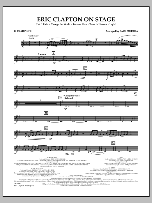 Eric Clapton on Stage - Bb Clarinet 2 (Concert Band)
