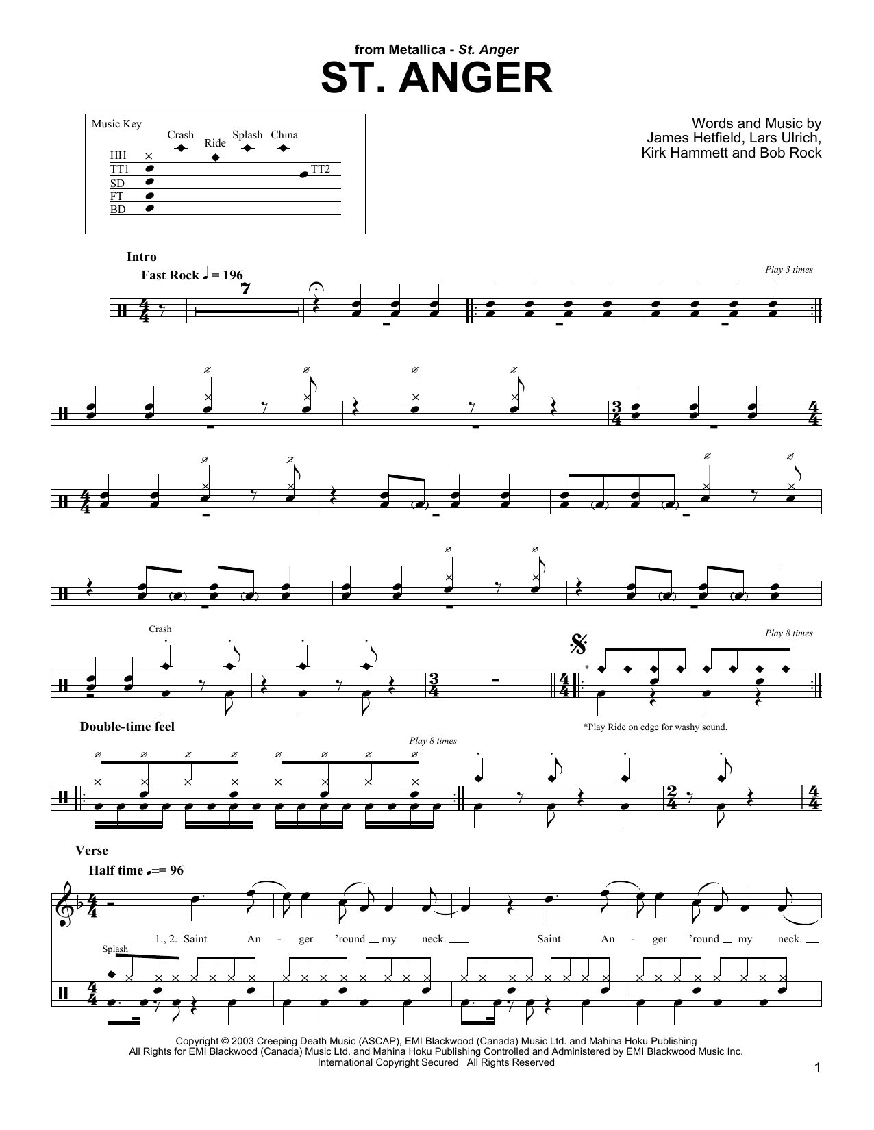 St. Anger Sheet Music