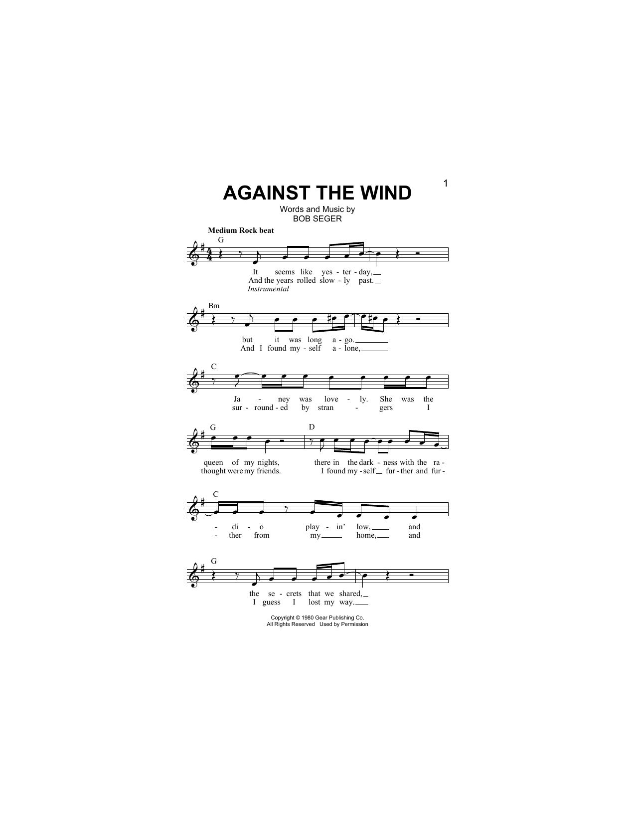Against The Wind (Lead Sheet / Fake Book)