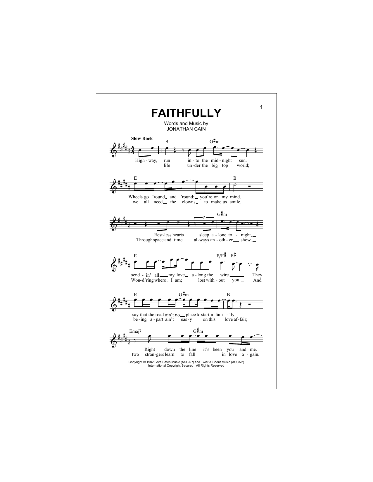 Faithfully Sheet Music Journey Melody Line Lyrics Chords