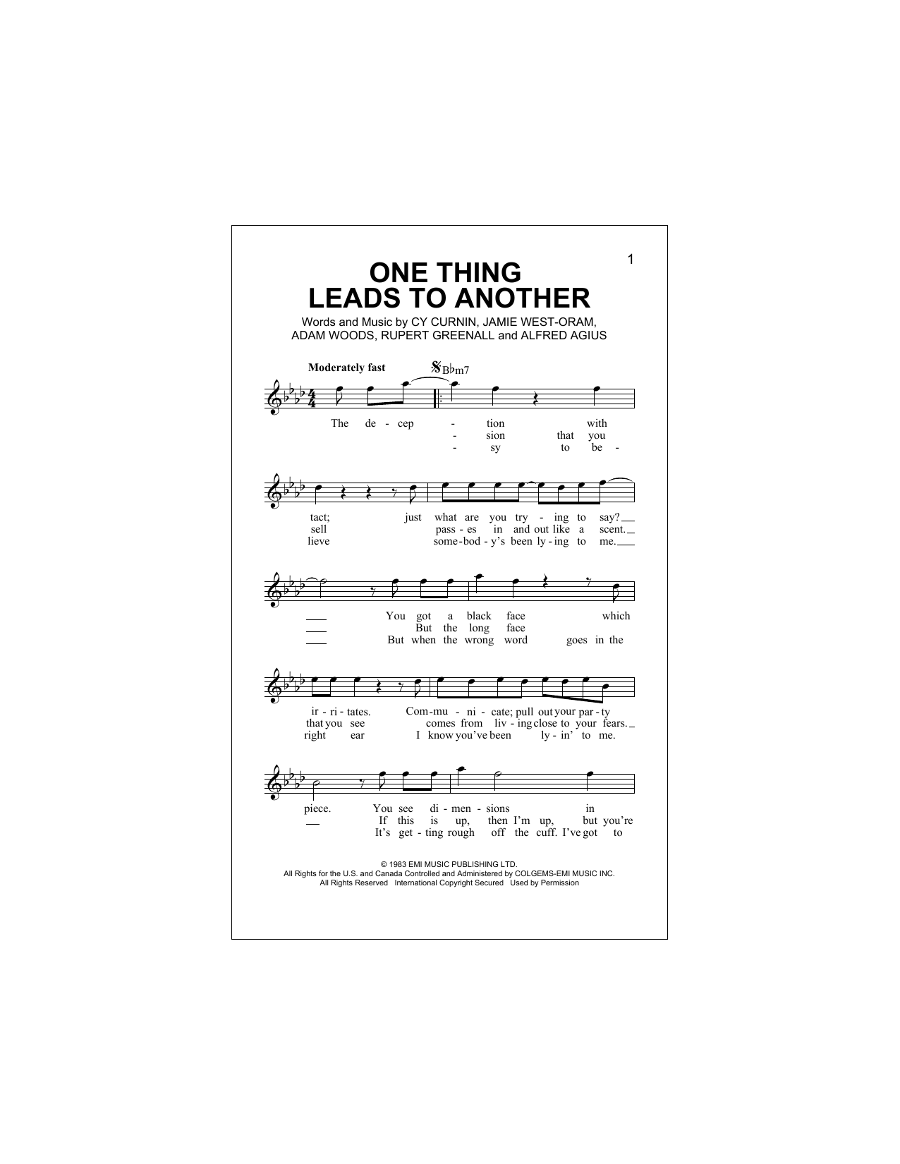 One Thing Leads To Another (Lead Sheet / Fake Book)