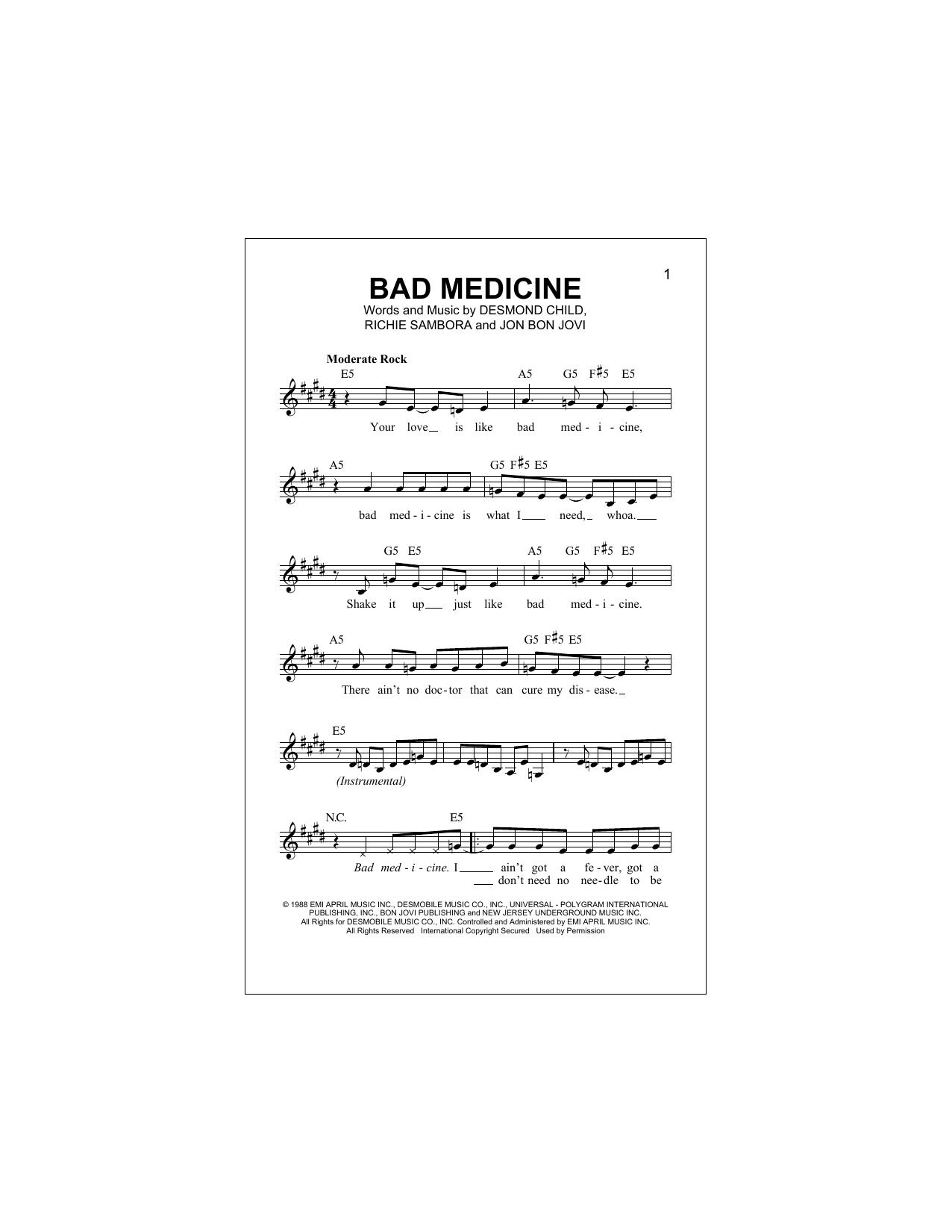 Bad Medicine (Lead Sheet / Fake Book)