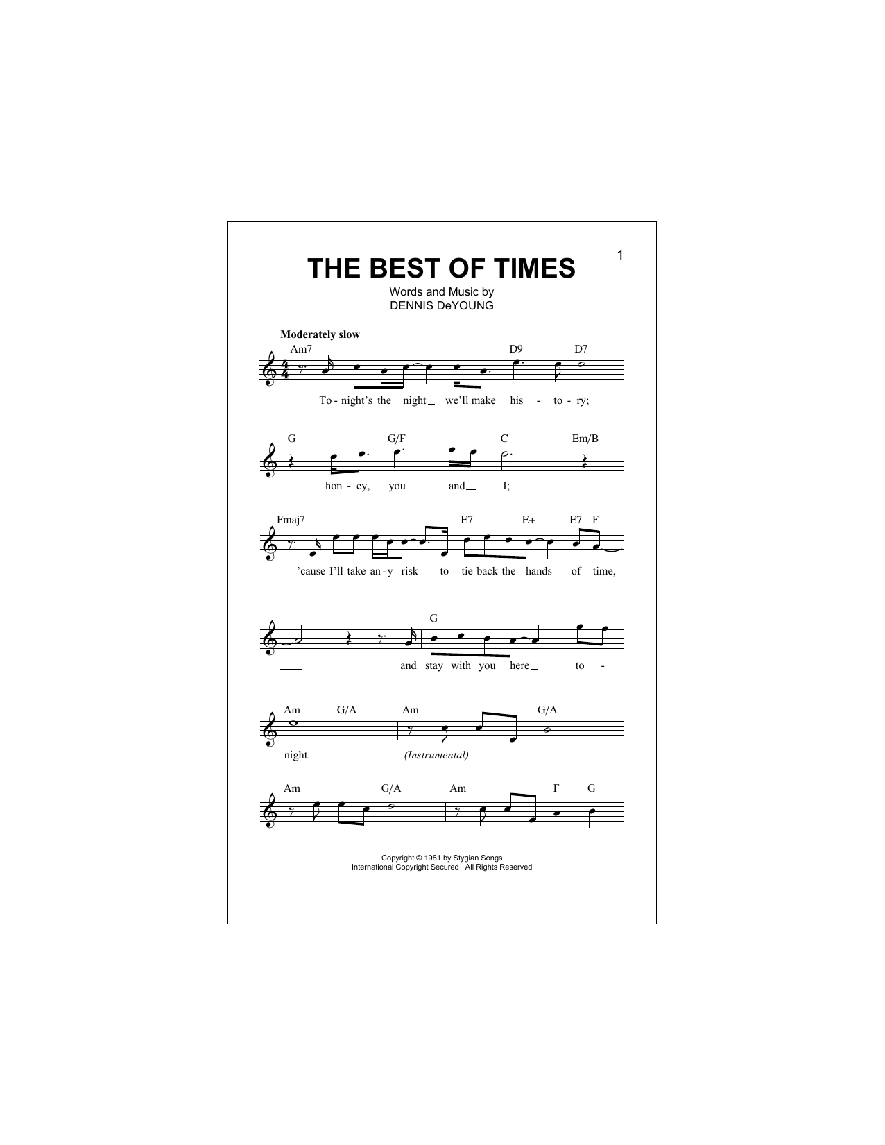 The Best Of Times (Lead Sheet / Fake Book)