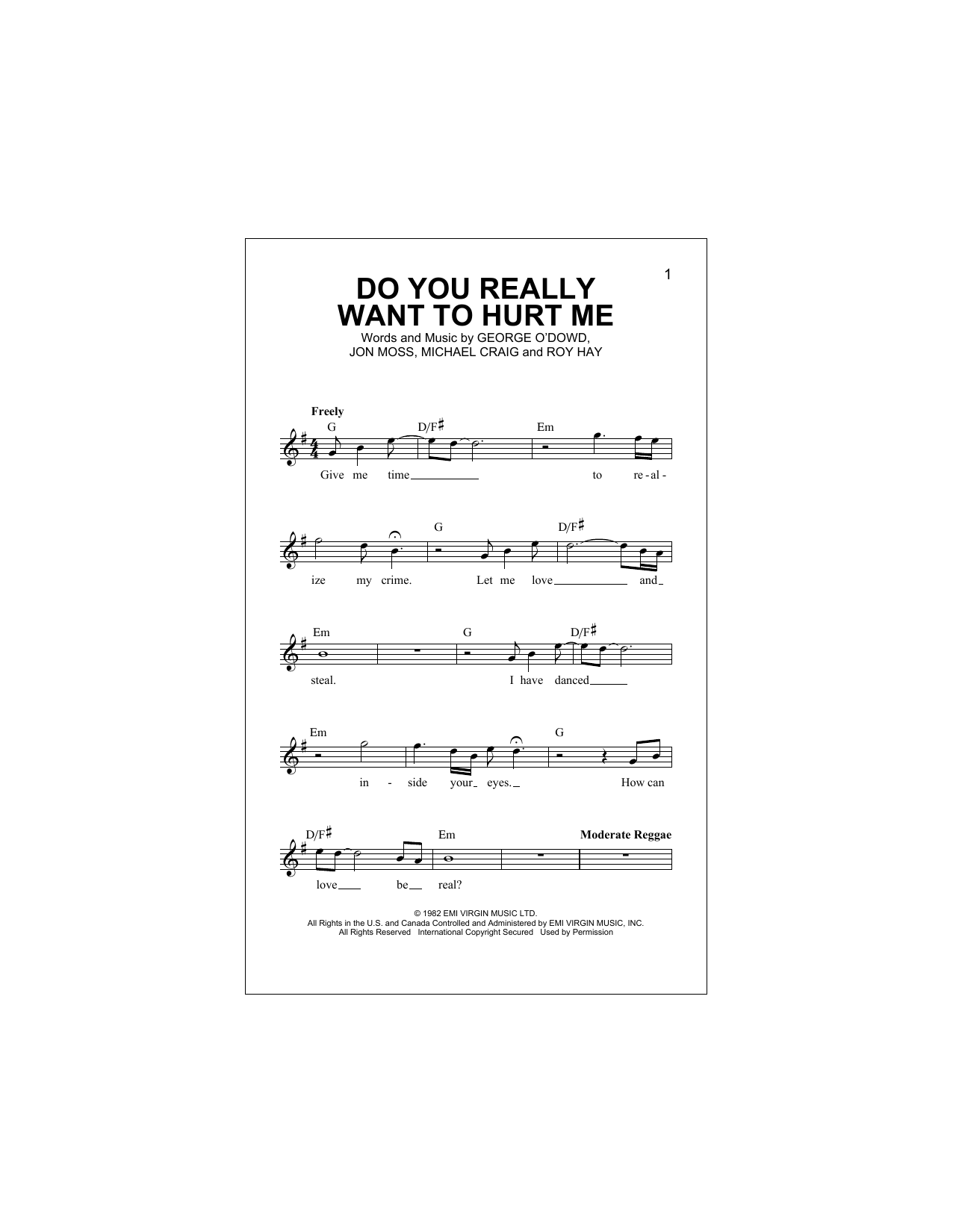 Do You Really Want To Hurt Me Print Sheet Music Now