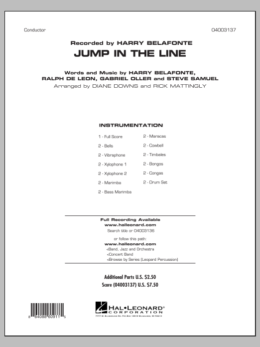 Jump in the Line - Full Score (Concert Band)
