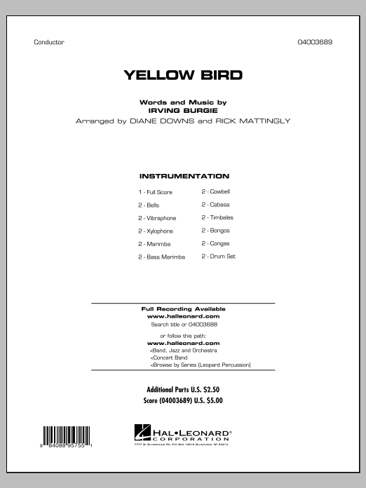 Yellow Bird - Full Score (Concert Band)