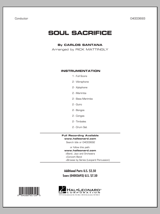 Soul Sacrifice (COMPLETE) sheet music for concert band by Carlos Santana and Rick Mattingly. Score Image Preview.