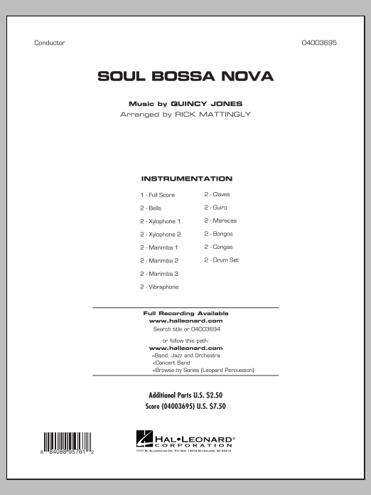 Soul Bossa Nova (COMPLETE) sheet music for concert band by Rick Mattingly and Quincy Jones. Score Image Preview.