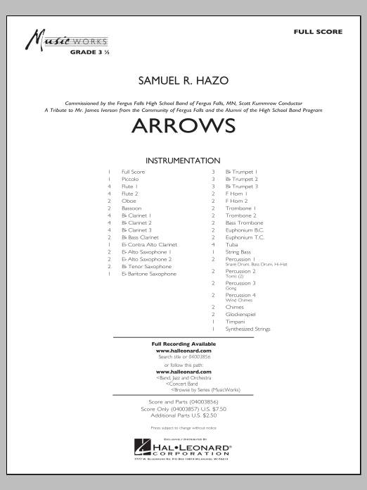 Arrows (COMPLETE) sheet music for concert band by Samuel R. Hazo. Score Image Preview.