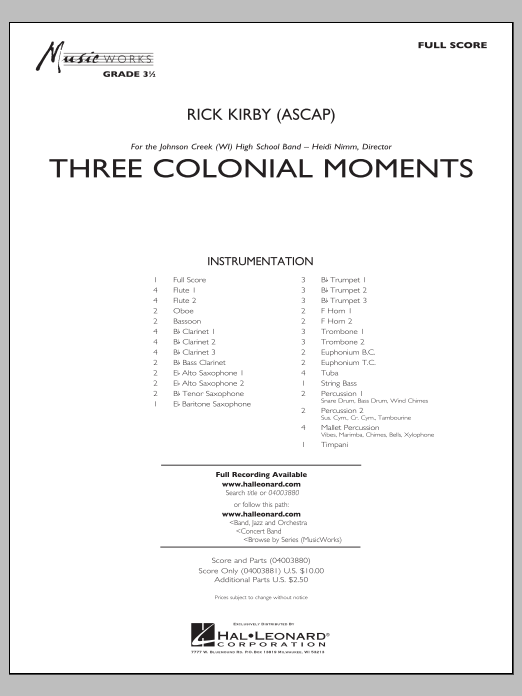 Three Colonial Moments (COMPLETE) sheet music for concert band by Rick Kirby. Score Image Preview.