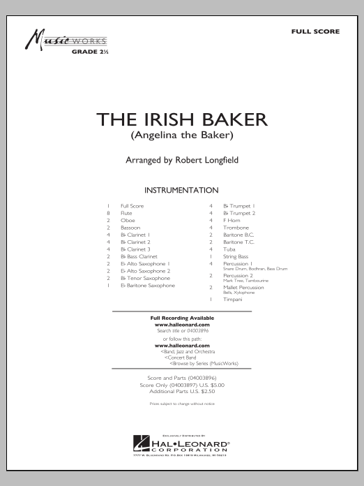 The Irish Baker (COMPLETE) sheet music for concert band by Robert Longfield. Score Image Preview.