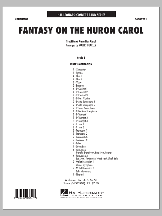 Fantasy on the Huron Carol (COMPLETE) sheet music for concert band by Trad. Canadian-Indian Melody and Robert Buckley. Score Image Preview.