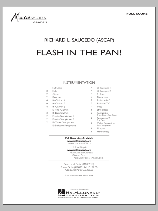 Flash in the Pan! (COMPLETE) sheet music for concert band by Richard L. Saucedo. Score Image Preview.