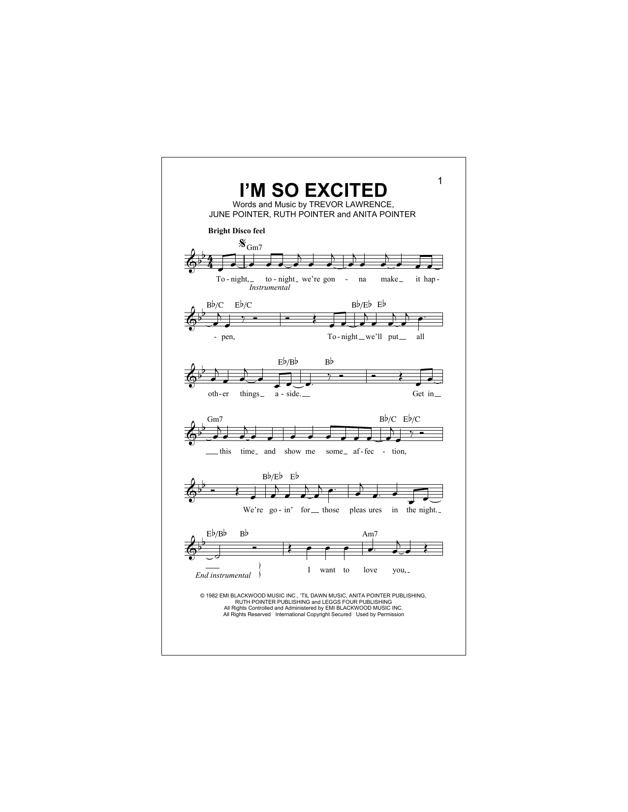 I'm So Excited Sheet Music